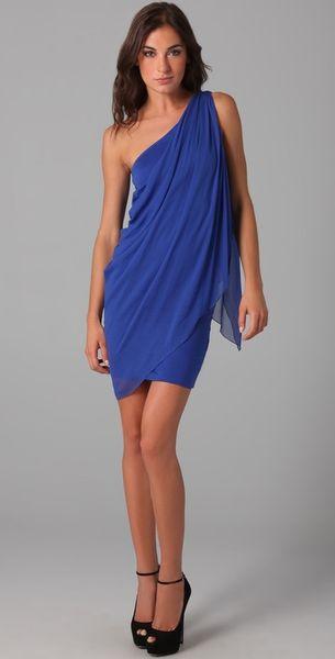 Alice Olivia Draped One Shoulder Dress In Blue Cobalt