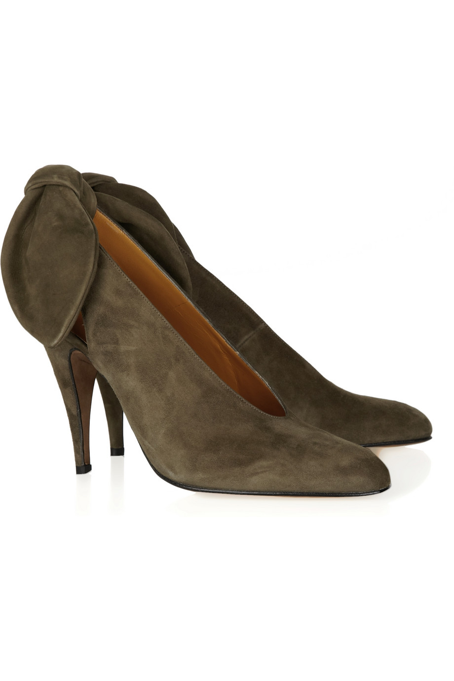 c2f7cbecbc2 Lyst - Carven Bow-back Suede Slingbacks in Brown