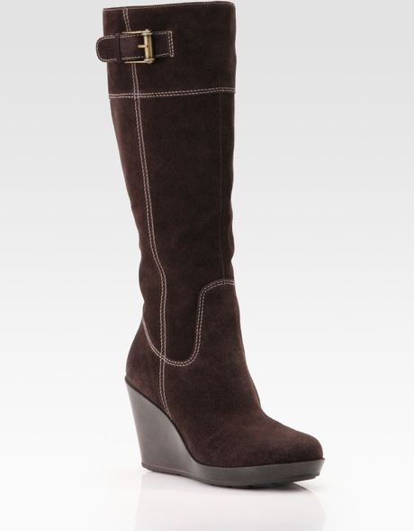 cole haan air tali suede knee high wedge boots in brown