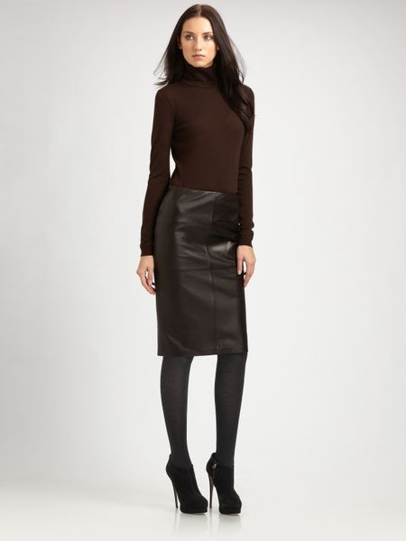 lafayette 148 new york slim leather skirt in brown