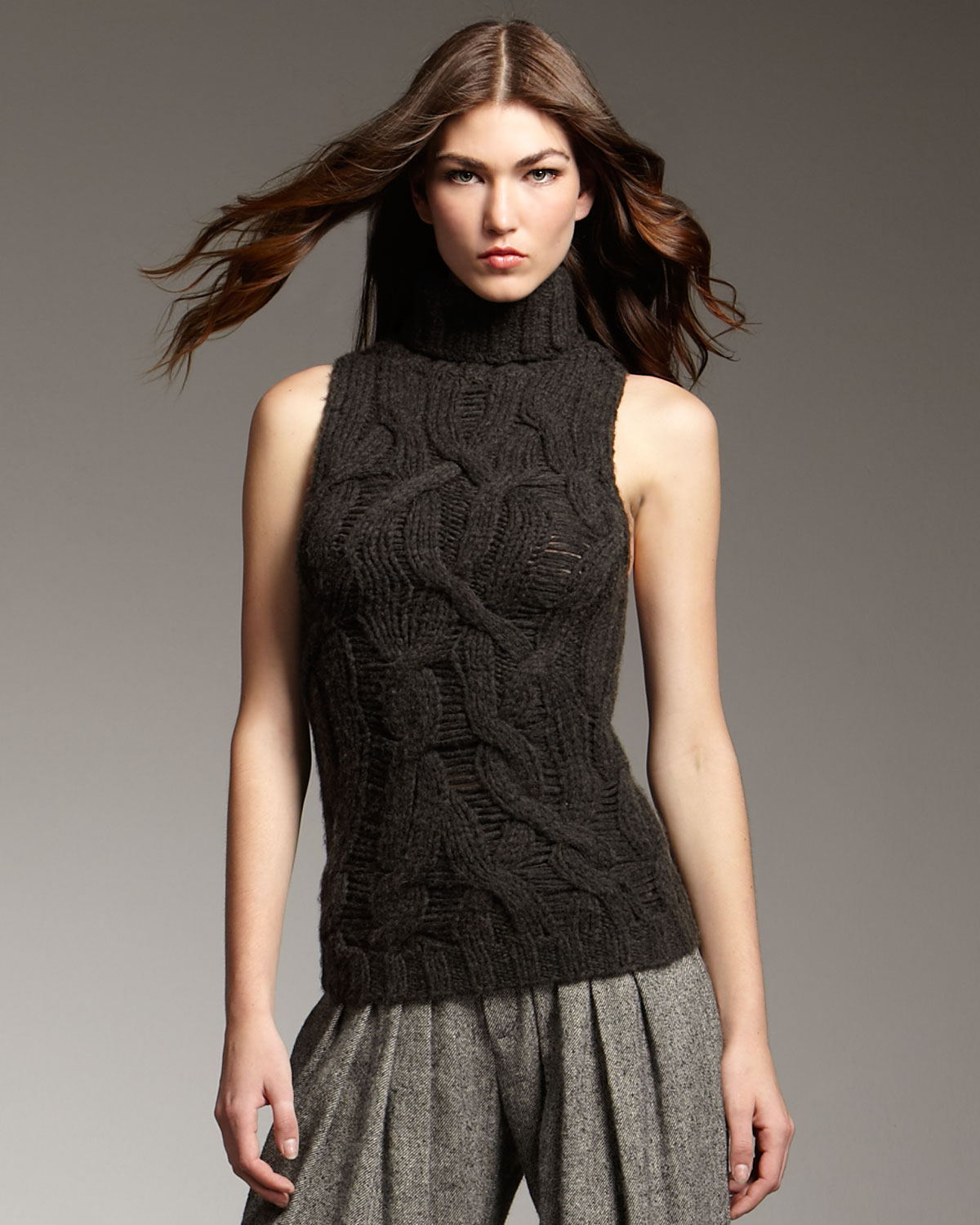 Lyst Theyskens Theory Sleeveless Cable Knit Sweater In Green