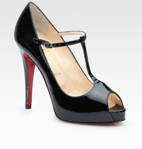 Christian Louboutin Patent Leather Peep Toe Pumps in Black