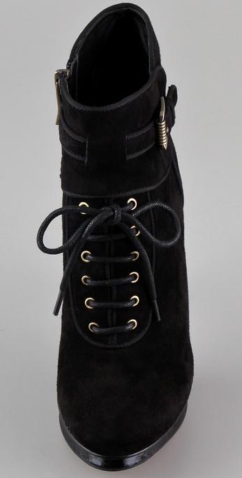 Lyst Sam Edelman Black Uma Lace Up High Heel Ankle Boot