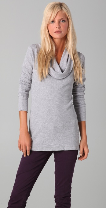 3b4fbab18c51a Lyst - Splendid Thermal Cowl Neck Tunic in Gray