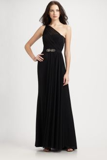 Ml Monique Lhuillier One Shoulder Jersey Gown - Lyst