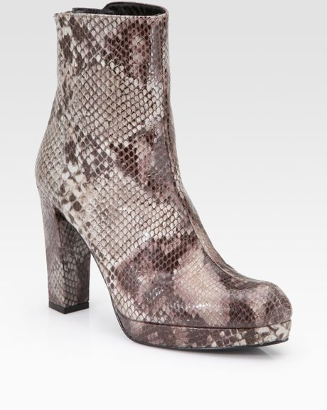 stuart weitzman snake print ankle boots in animal