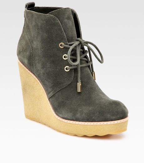 burch suede wedge ankle boots in green olive