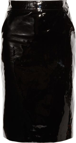 gucci patent leather pencil skirt in black lyst