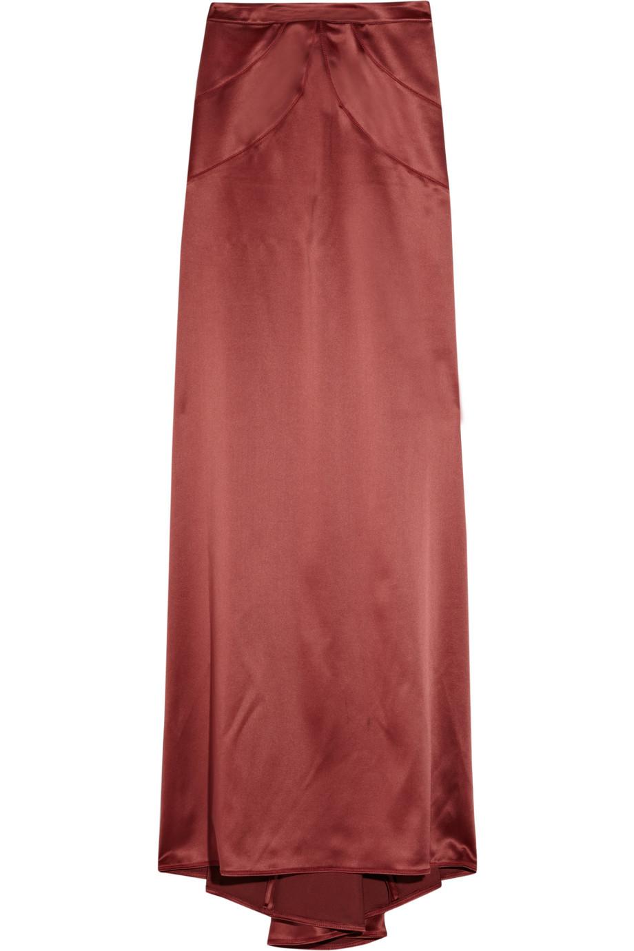just cavalli fishtail satin maxi skirt in maroon lyst