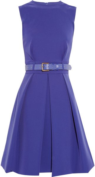 Preen By Thornton Bregazzi Grace Pleated Stretch-crepe Dress in Blue (violet)