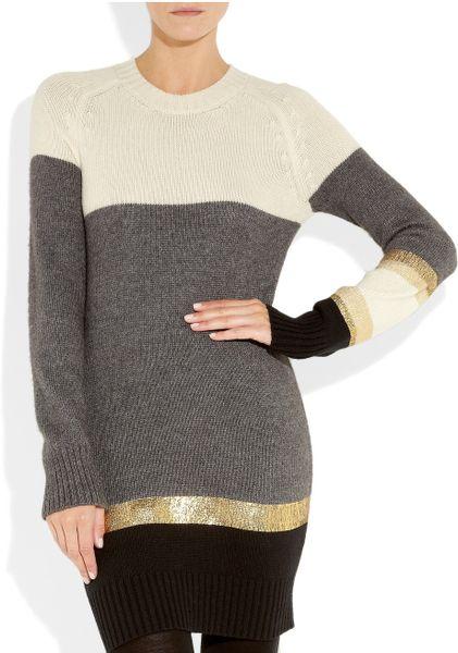 Vionnet Striped Knitted Sweater Dress In Beige Cream Lyst