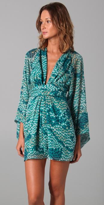 Lyst Issa Short Kimono Dress In Green