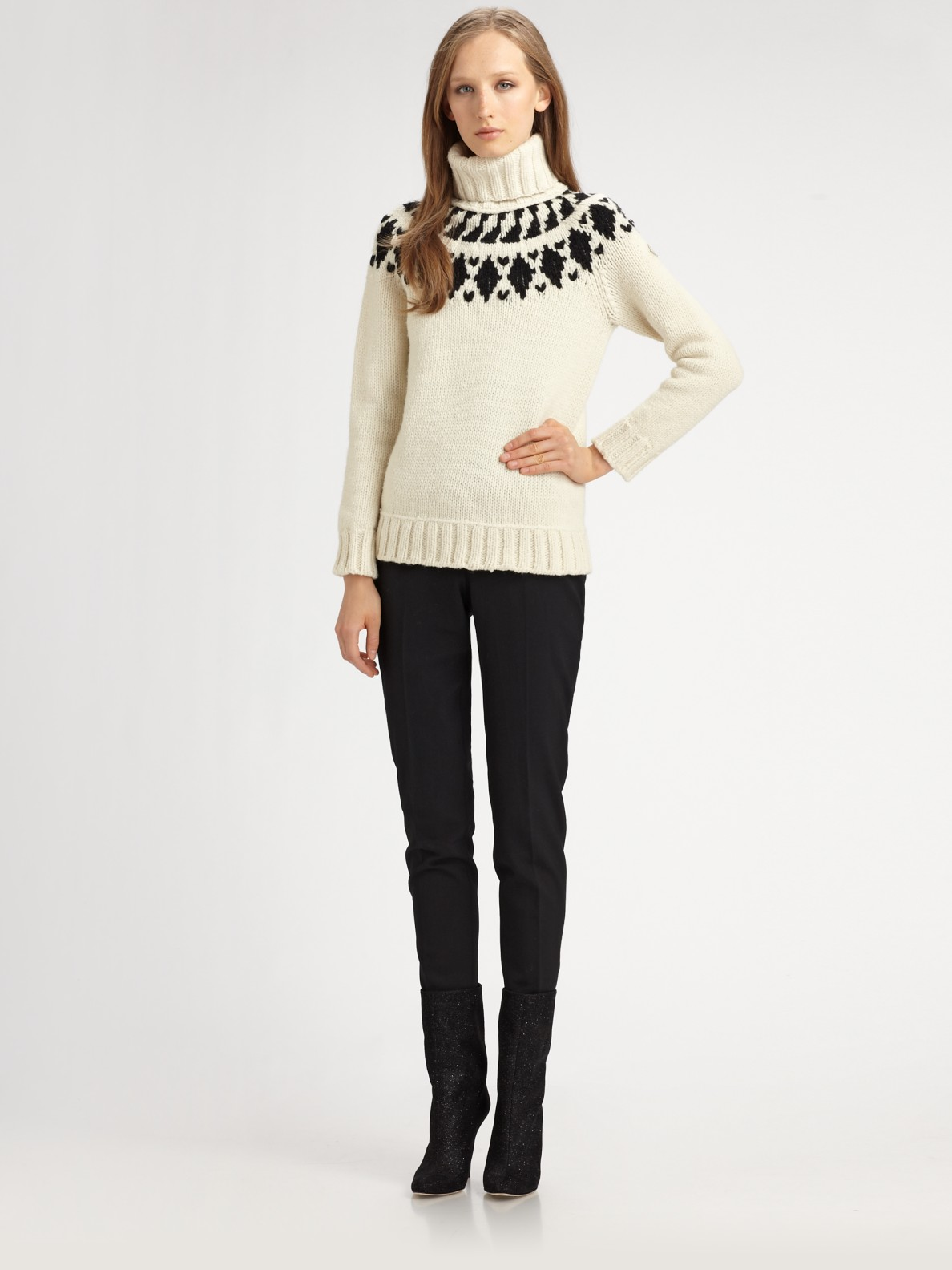 Moncler Wool Fair Isle Turtleneck Sweater in White | Lyst