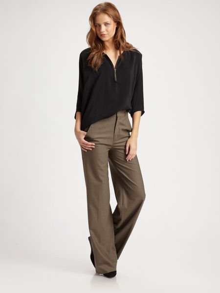 Vince High-waisted Wide-leg Pants in Brown (taupe)