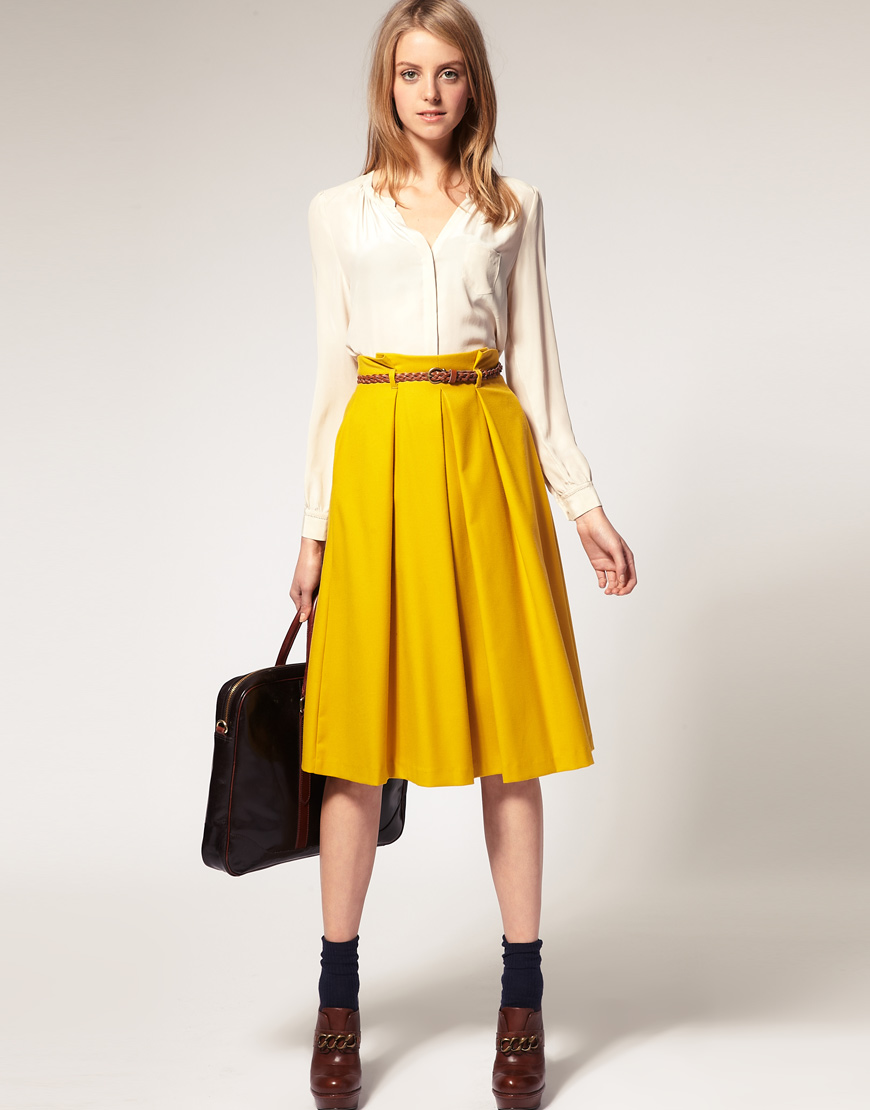 asos collection asos midi skirt with belt in yellow