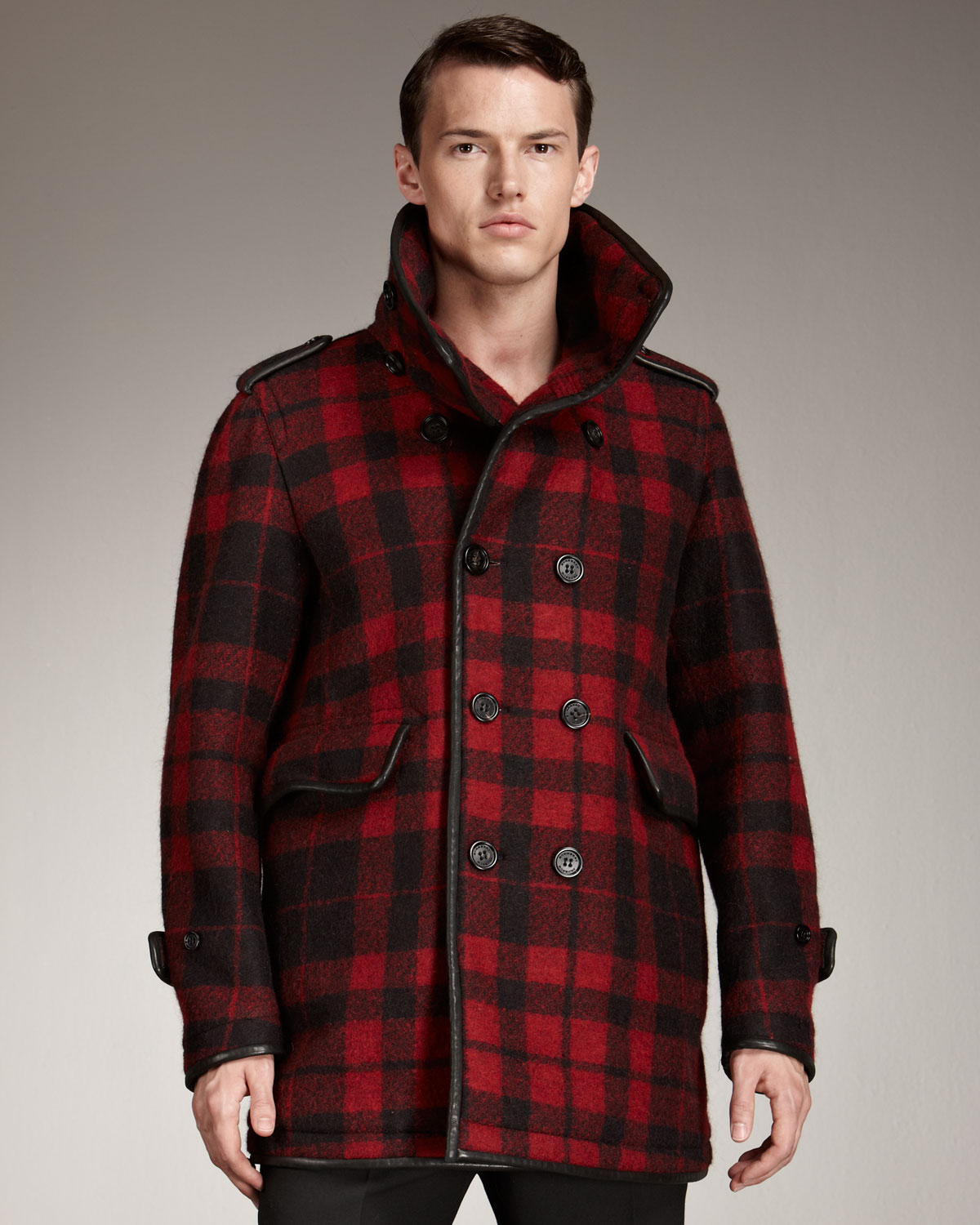 Burberry Prorsum Plaid Pea Coat In Black For Men Red Lyst