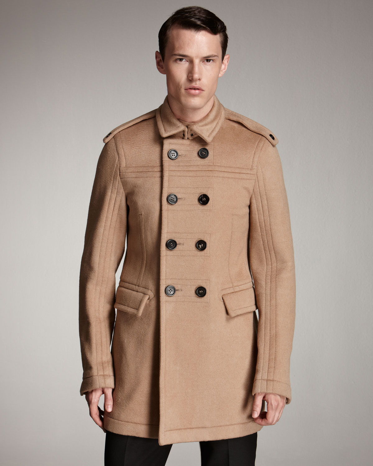 Burberry prorsum Double-breasted Car Coat in Brown for Men | Lyst