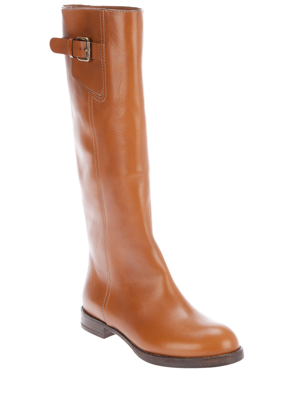 chlo 233 flat leather boots in brown lyst