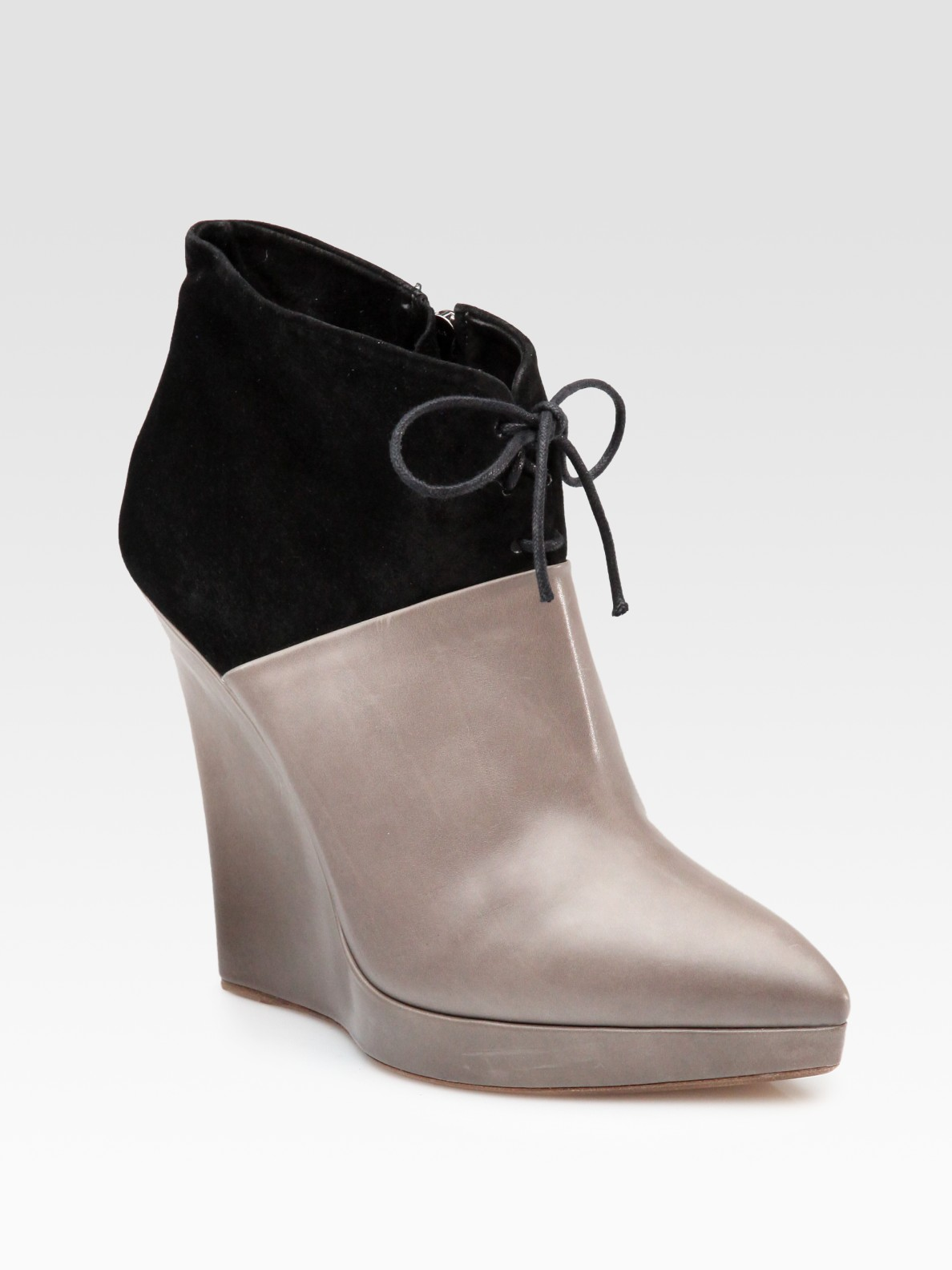 reed krakoff leather and suede point toe wedge ankle boots
