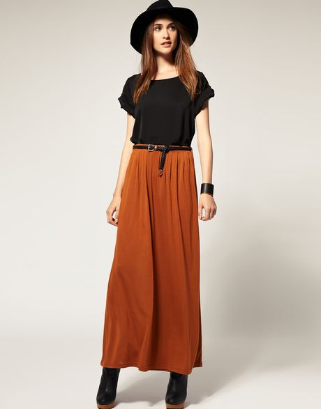 river island belted maxi skirt in orange conker lyst