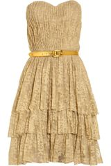 Robert Rodriguez Belted Tiered Lace Dress