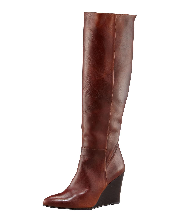 stuart weitzman antique leather wedge boot in brown