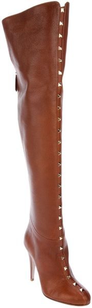 Valentino Long Studded Boot in Brown