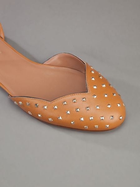 Valentino Studded Flat Shoe In Brown Tan Lyst