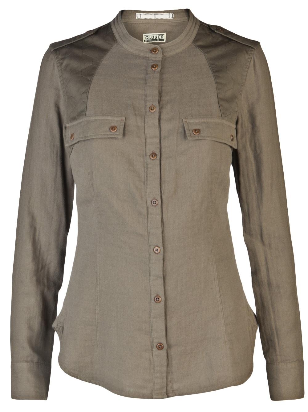 closed button down shirt in green khaki lyst