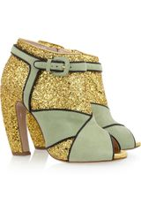 Miu Miu Glitter and Suede Peep-toe Ankle Boots
