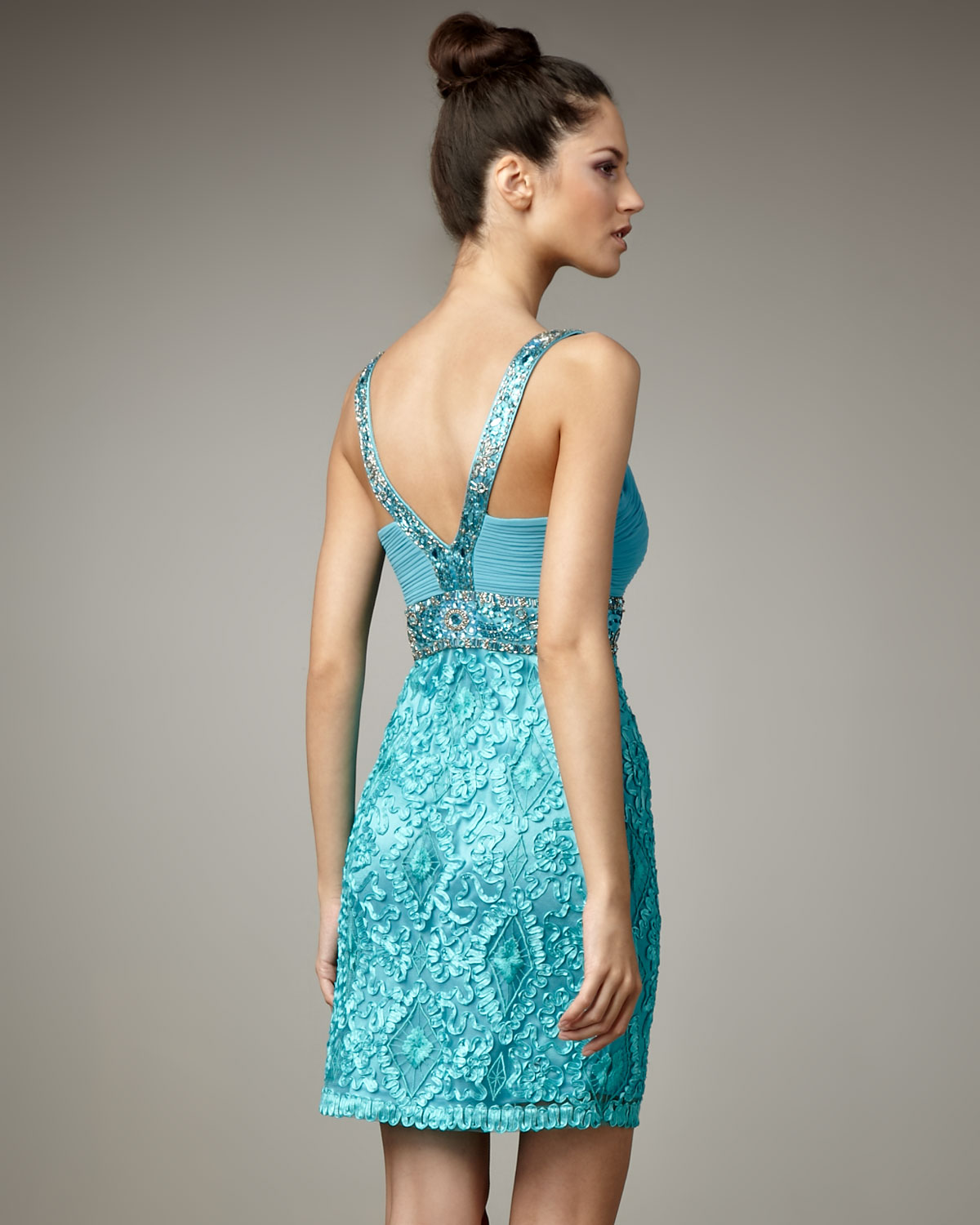 Lyst - Sue Wong Bead-strap Cocktail Dress in Blue