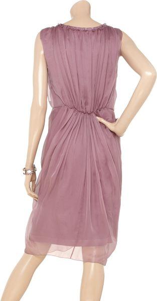 Alberta Ferretti Silk Chiffon Wrap Dress In Purple Lyst