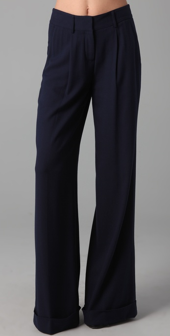 Gryphon Wide Leg Pants in Blue | Lyst