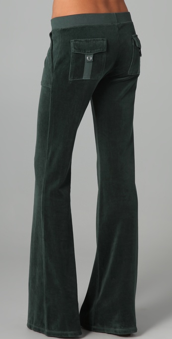 Juicy Couture Velour Snap Pocket Pants In Green Lyst