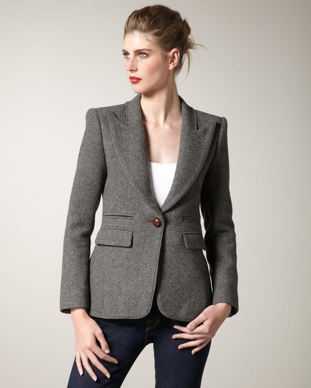 Lyst smythe structured flannel blazer in gray for Smythe designer