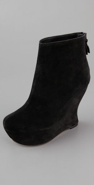 Alice + Olivia Java Suede Wedge Ankle Boots in Black