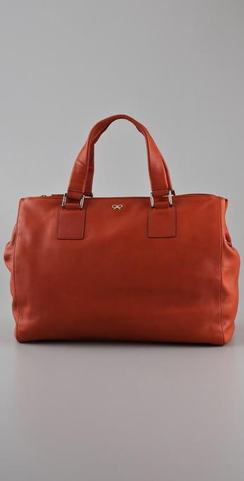lyst anya hindmarch maxi zip ebury tote in orange