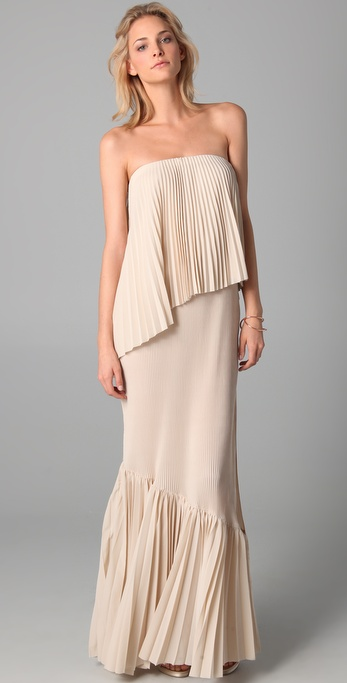 Kaelen Corina Strapless Pleated Dress in Natural | Lyst