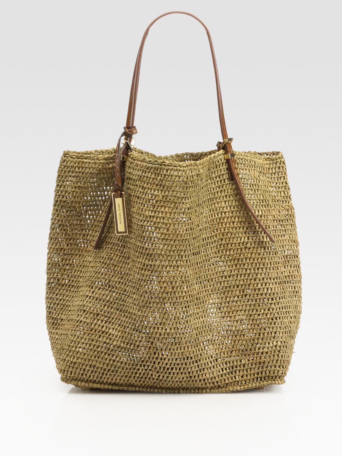 Michael Kors Raffia Tote Bag In Walnut Brown Lyst