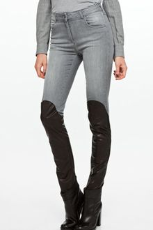 Mm6 X Opening Ceremony Leather Detail Pants in Grey/black - Lyst