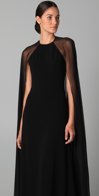 Reem Acra Halter Gown With Chiffon Cape In Black Lyst