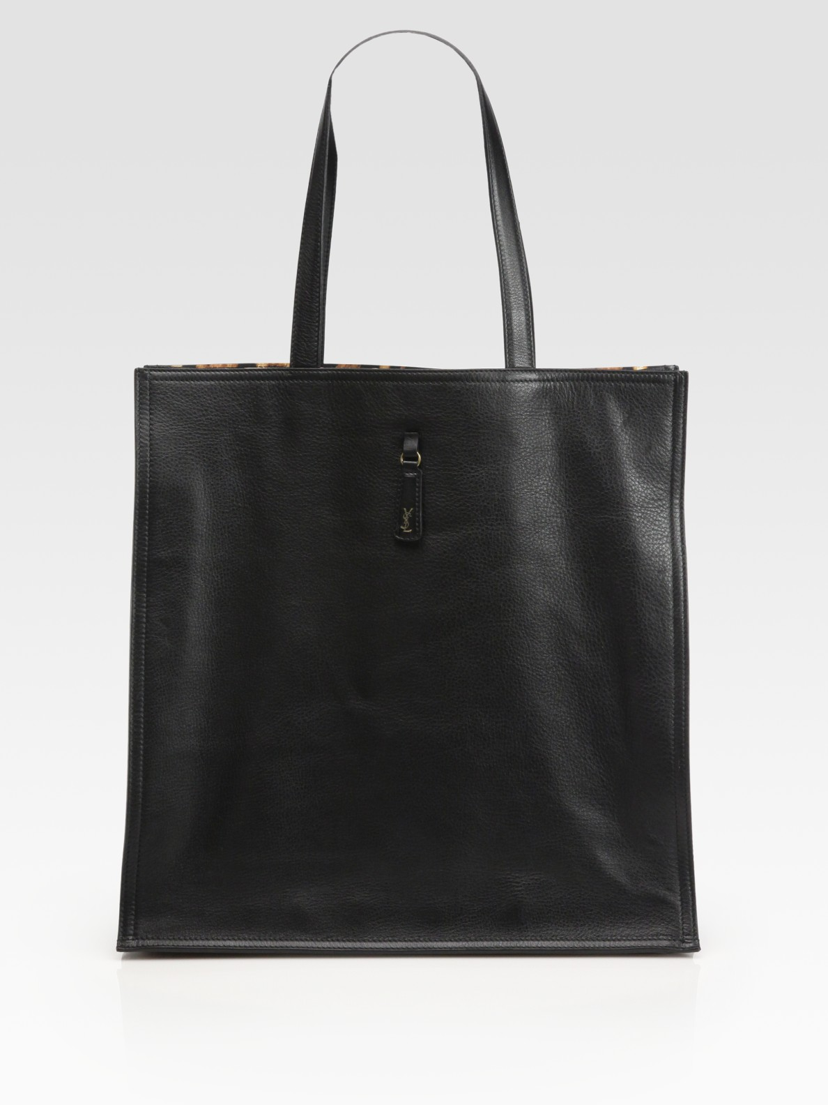 Saint Laurent Ysl Large Leather Tote Bag In Black Lyst
