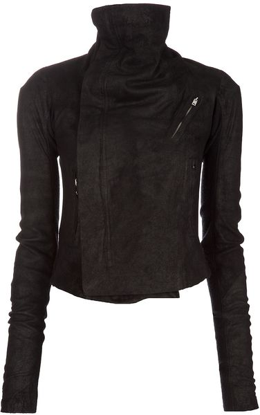 Rick Owens Blister Leather Biker Jacket in Black - Lyst