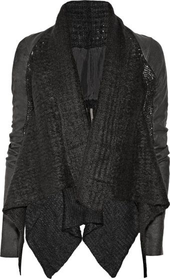 Rick Owens Leather-sleeved Mohair-blend Jacket - Lyst