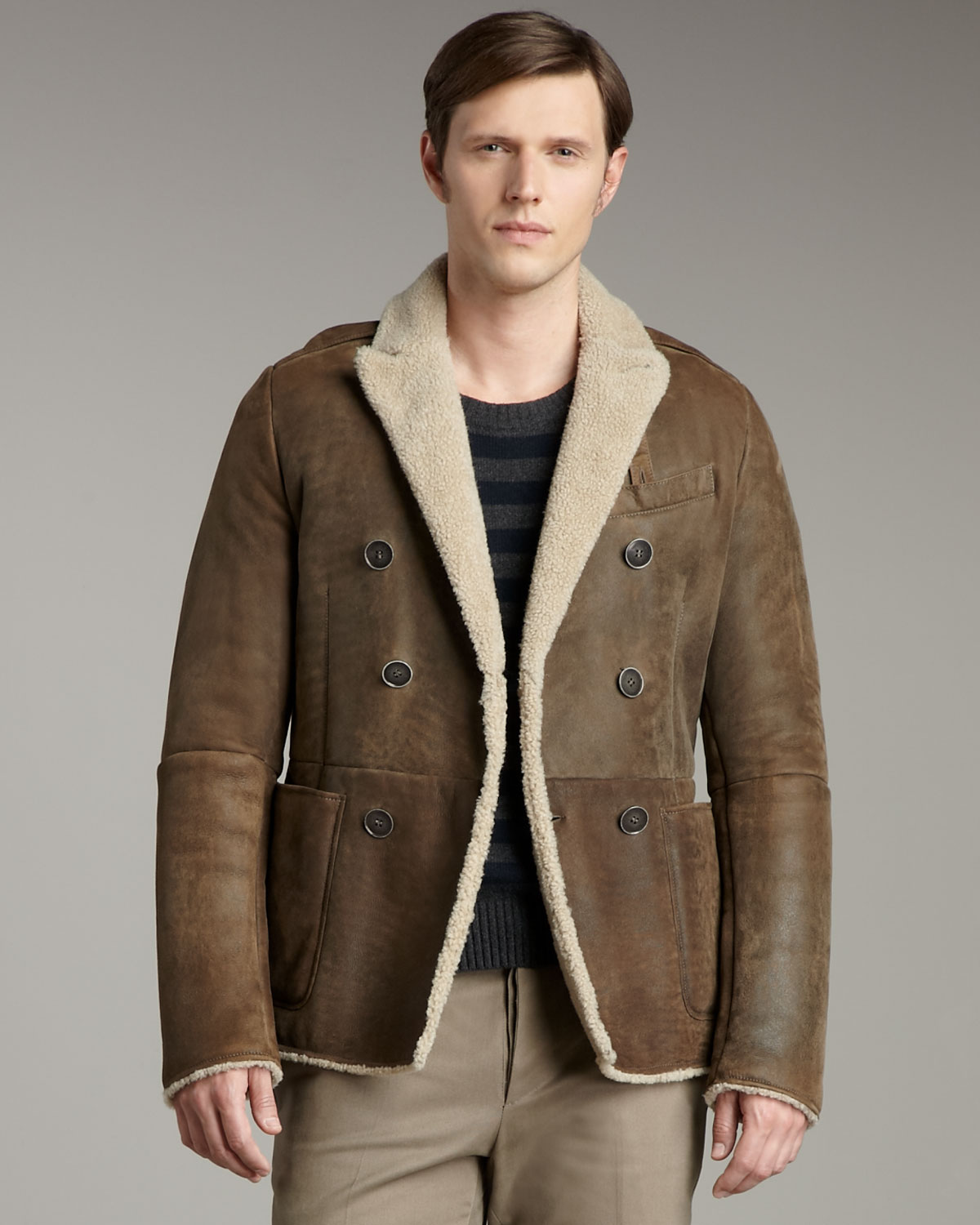 Valentino Shearling Jacket in Brown for Men | Lyst