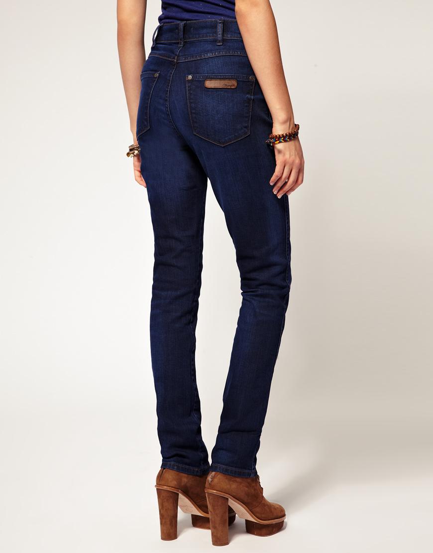 Wrangler High Waisted Skinny Jeans In Blue Lyst