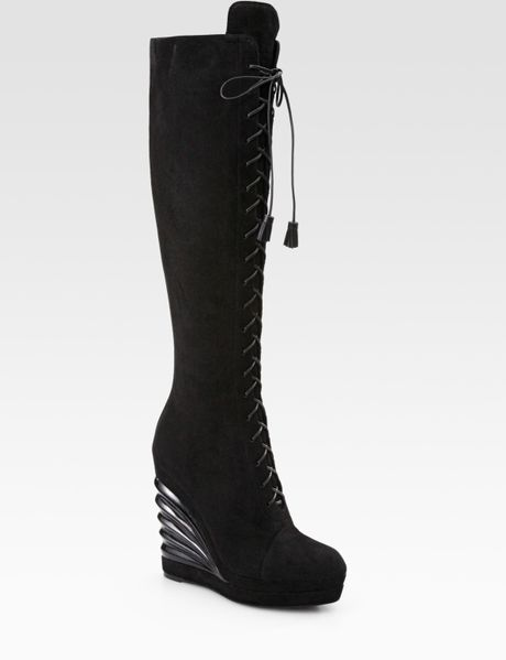 laurent suede lace up knee high wedge boots in black