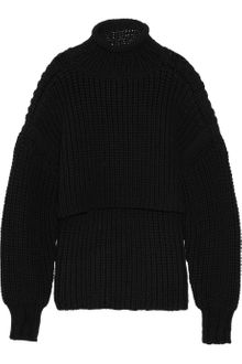 Alexander Wang Cropped Chunky-knit Cotton-blend Sweater - Lyst