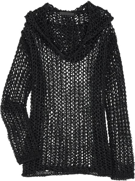 Alexander Wang Openknit Cottonblend Sweater in Black - Lyst