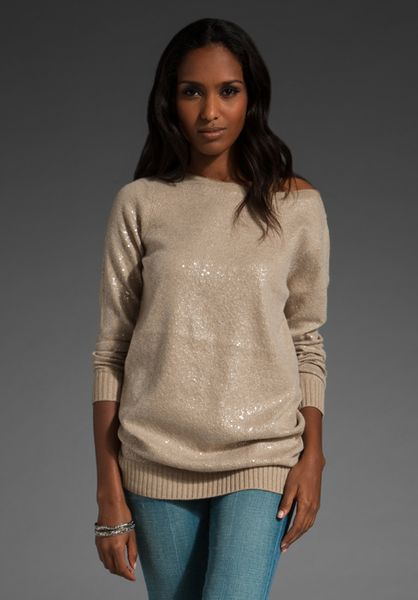 Alice + Olivia Allover Sequin Sweater in Beige (tan)